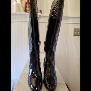 COACH PATENT LEATHER ROWAN BOOTS 8.5
